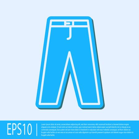 Blue line Pants icon isolated on grey background. Vector Illustration