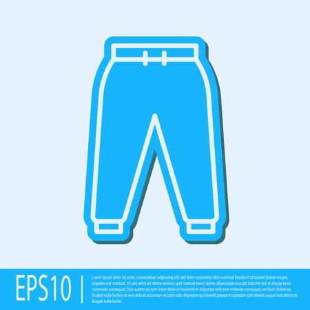 Blue line Sport pants icon isolated on grey background. Vector Illustration Stock Illustratie