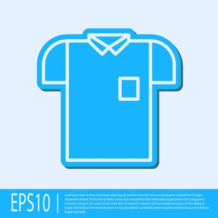 Blue line Polo shirt icon isolated on grey background. Vector Illustration