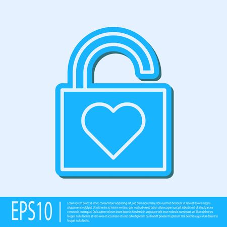 Blue line Lock and heart icon isolated on grey background. Locked Heart. Love symbol and keyhole sign. Valentines day symbol. Vector Illustration