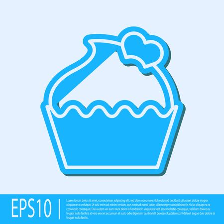 Blue line Wedding cake with heart icon isolated on grey background. Valentines day symbol. Vector Illustration