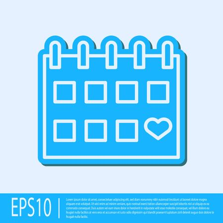 Blue line Calendar with heart icon isolated on grey background. Valentines day. Love symbol. February 14. Vector Illustration