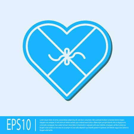 Blue line Candy in heart shaped box and bow icon isolated on grey background. Valentines Day. Vector Illustration 일러스트