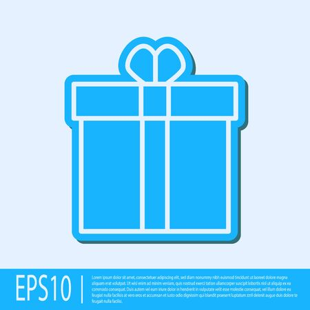 Blue line Gift box and heart icon isolated on grey background. Valentines day. Vector Illustration