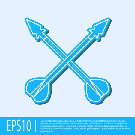 Blue line Medieval crossed arrows icon isolated on grey background. Medieval weapon. Vector Illustration 일러스트