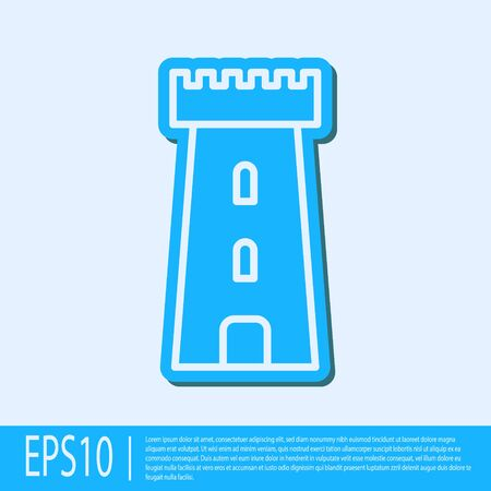 Blue line Castle tower icon isolated on grey background. Fortress sign. Vector Illustration