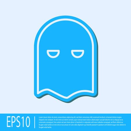 Blue line Executioner mask icon isolated on grey background. Hangman, torturer, executor, tormentor, butcher, headsman icon. Vector Illustration