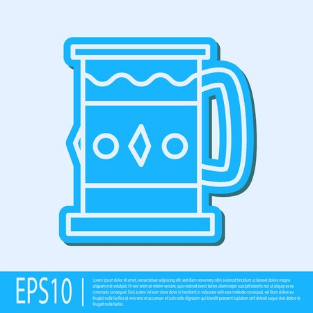 Blue line Wooden mug icon isolated on grey background. Vector Illustration