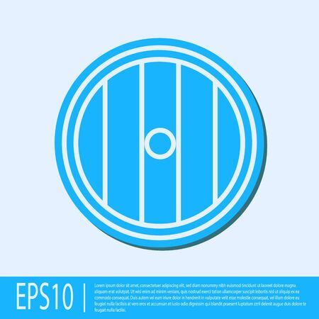 Blue line Round wooden shield icon isolated on grey background. Security, safety, protection, privacy, guard concept. Vector Illustration