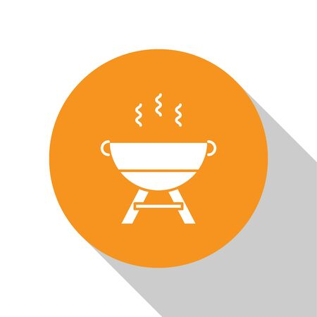 White Barbecue grill icon isolated on white background. BBQ grill party. Orange circle button. Vector Illustration