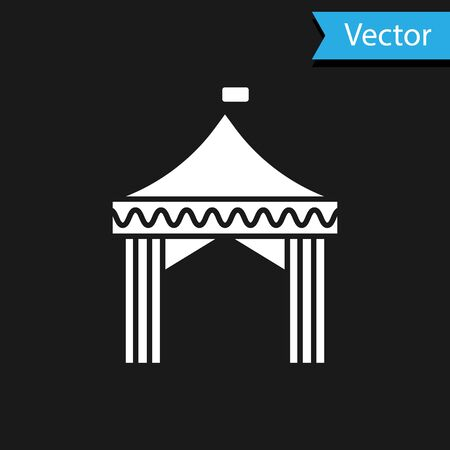 White Camping tent icon isolated on black background. Carnival camping tent. Amusement park.  Vector Illustration