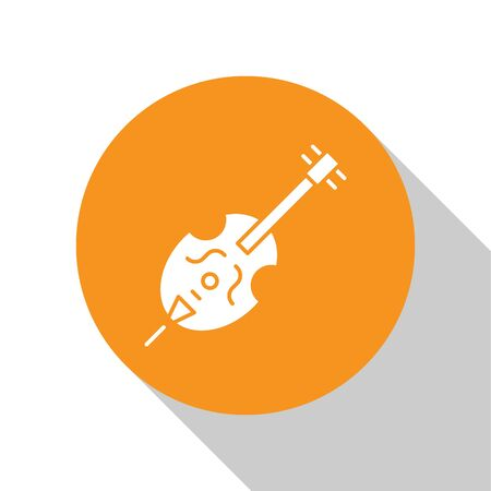 White Violin icon isolated on white background. Musical instrument. Orange circle button. Vector Illustration