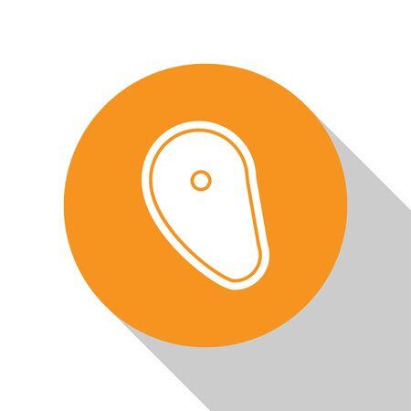 White Steak meat icon isolated on white background. Orange circle button. Vector Illustration Çizim