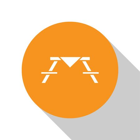 White Picnic table with benches on either side of the table icon isolated on white background. Orange circle button. Vector Illustration