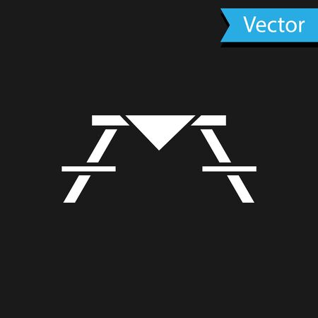 White Picnic table with benches on either side of the table icon isolated on black background. Vector Illustration 일러스트