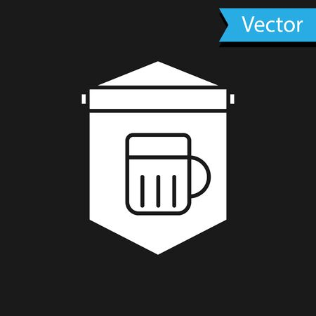 White Street signboard with glass of beer icon isolated on black background. Suitable for advertisements bar, cafe, pub, restaurant. Vector Illustration