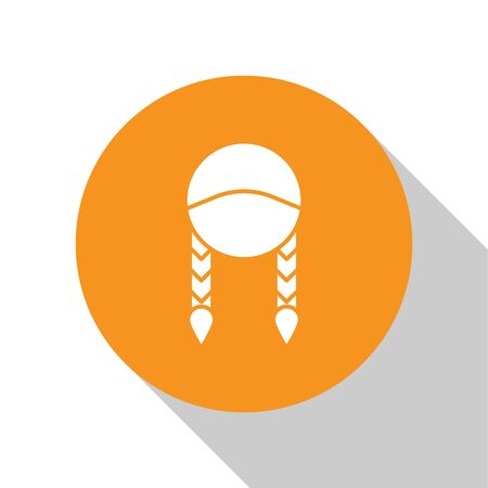 White Braid icon isolated on white background. Orange circle button. Vector Illustration