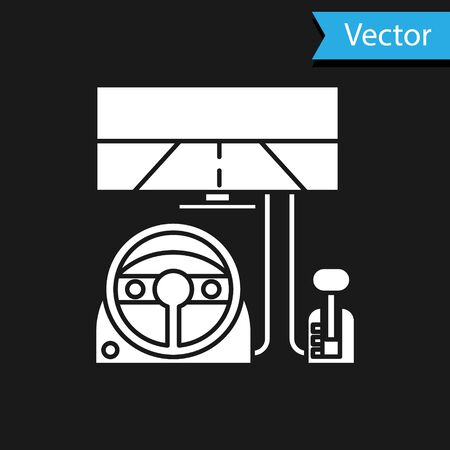 White Racing simulator cockpit icon isolated on black background. Gaming accessory. Gadget for driving simulation game.  Vector Illustration 向量圖像