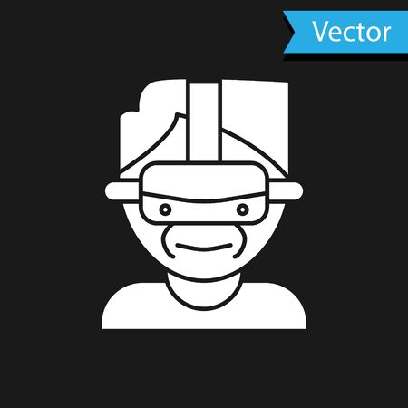 White Virtual reality glasses icon isolated on black background. Stereoscopic 3d vr mask.  Vector Illustration 向量圖像