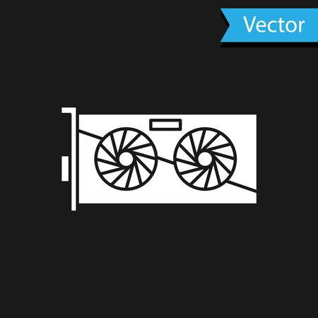White Video graphic card icon isolated on black background.  Vector Illustration