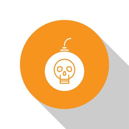 White Bomb ready to explode icon isolated on white background. Happy Halloween party. Orange circle button. Vector Illustration