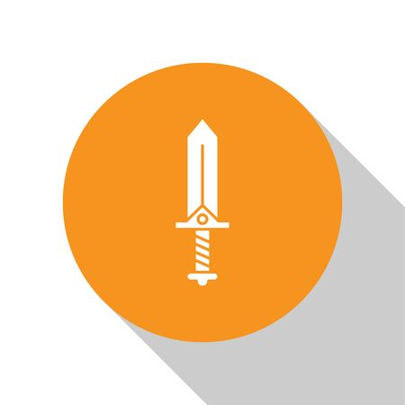 White Sword for game icon isolated on white background. Orange circle button. Vector Illustration