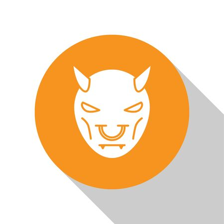 White Mask of the devil with horns icon isolated on white background. Orange circle button. Vector Illustration