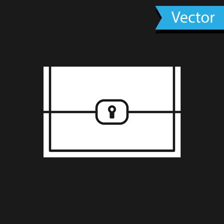 White Chest for game icon isolated on black background. Vector Illustration