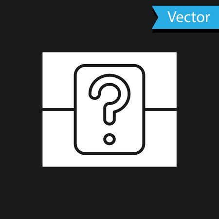 White Mystery box or random loot box for games icon isolated on black background. Question box. Vector Illustration