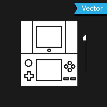 White Portable video game console icon isolated on black background. Gamepad sign. Gaming concept. Vector Illustration