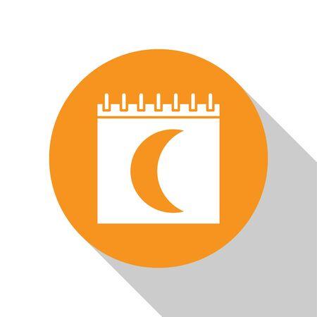 White Moon phases calendar icon isolated on white background. Orange circle button. Vector Illustration