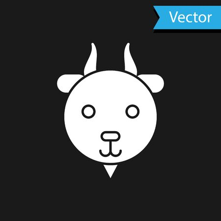 White Aries zodiac sign icon isolated on black background. Astrological horoscope collection. Vector Illustration