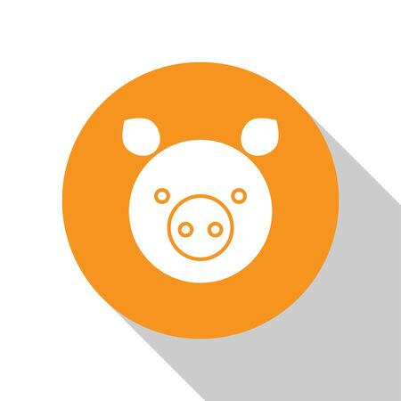 White Pig zodiac sign icon isolated on white background. Astrological horoscope collection. Orange circle button. Vector Illustration