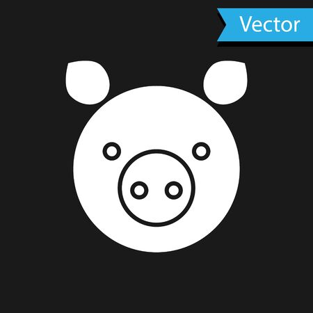 White Pig zodiac sign icon isolated on black background. Astrological horoscope collection. Vector Illustration