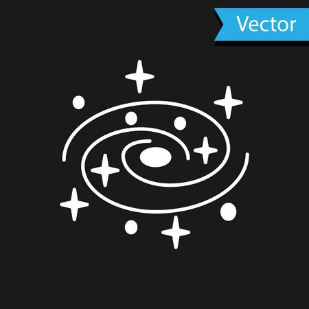 White Milky way spiral galaxy with stars icon isolated on black background. Vector Illustration Ilustracja