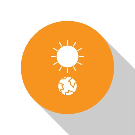 White Solstice icon isolated on white background. Orange circle button. Vector Illustration