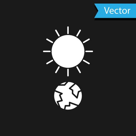 White Solstice icon isolated on black background. Vector Illustration Stock Illustratie