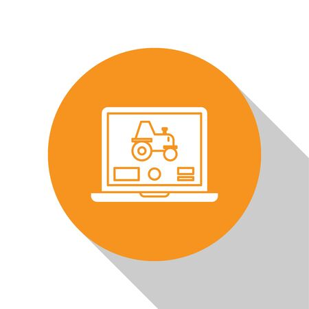 White Laptop application for control a autonomous tractor on a smart farm icon isolated on white background. Smart agriculture implement. Orange circle button. Vector Illustration