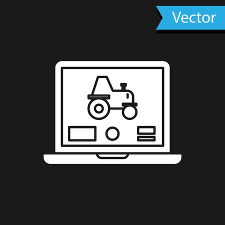 White Laptop application for control a autonomous tractor on a smart farm icon isolated on black background. Smart agriculture implement. Vector Illustration