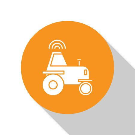 White Self driving wireless tractor on a smart farm icon isolated on white background. Smart agriculture implement element. Orange circle button. Vector Illustration Illusztráció