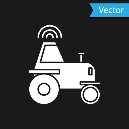White Self driving wireless tractor on a smart farm icon isolated on black background. Smart agriculture implement element. Vector Illustration Ilustrace