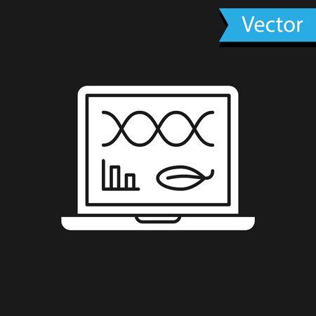 White Genetic engineering modification on laptop icon isolated on black background. DNA analysis, genetics testing, cloning. Vector Illustration