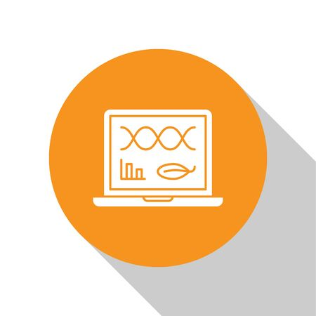 White Genetic engineering modification on laptop icon isolated on white background. DNA analysis, genetics testing, cloning. Orange circle button. Vector Illustration