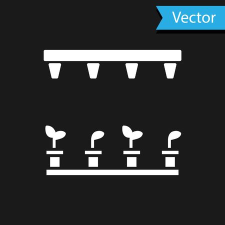 White Automatic irrigation sprinklers icon isolated on black background. Watering equipment. Garden element. Spray gun icon. Vector Illustration Stock Illustratie