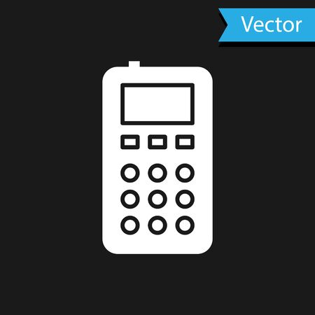 White Remote control icon isolated on black background. Vector Illustration
