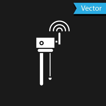White Router and wifi signal symbol icon isolated on black background.