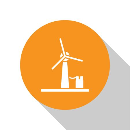 White Wind turbine icon isolated on white background. Wind generator sign. Windmill for electric power production. Orange circle button. Vector Illustration Çizim