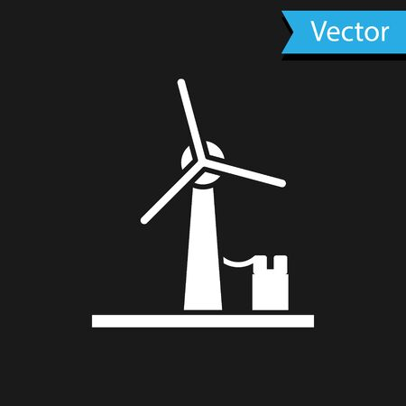 White Wind turbine icon isolated on black background. Wind generator sign. Windmill for electric power production. Vector Illustration