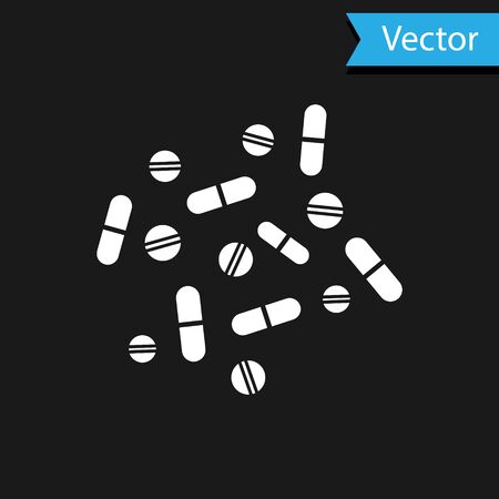 White Medicine pill or tablet icon isolated on black background. Capsule pill and drug sign. Pharmacy design. Vector Illustration