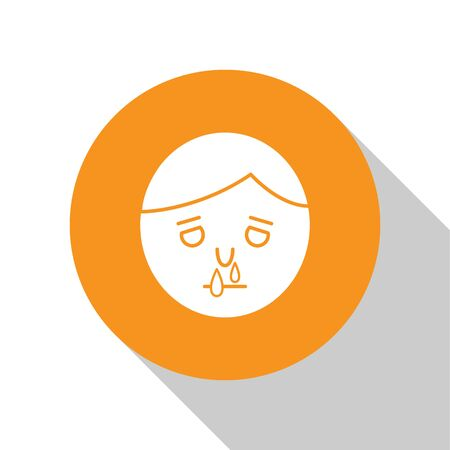 White Runny nose icon isolated on white background. Rhinitis symptoms, treatment. Nose and sneezing. Nasal diseases. Orange circle button. Vector Illustration